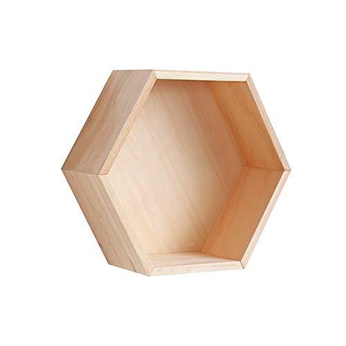 Kbsin212esagonale legno mensole scaffale, esagono geometrico creativo parete di archiviazione organizzatore container stand casa salotto bagno decor wood color