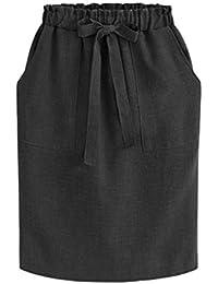 731191d74b Mxssi Nuevo Elegante Faldas Midi para Mujer Oficina Lápiz Falda Paquete de Cintura  Elástica de Algodón
