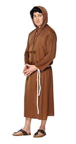 Smiffys, Herren Mönch Kostüm, Robe mit Kapuze und Gürtel, Größe: M, 20424