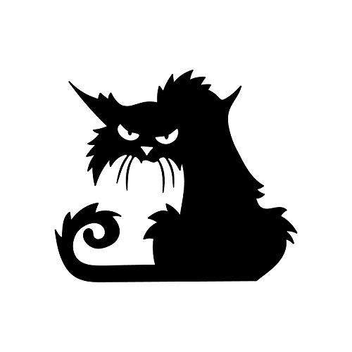 Wandtattoo aus Vinyl - wütende Schwarze Katze - 38,1 x 43,2 cm - Gruselige Halloween-Dekoration - Trendige Kinder Teenager Erwachsene Innen Außen Wand Fenster Wohnzimmer Büro Decor