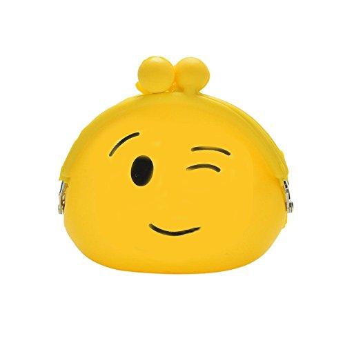 LaDicha Emoji Silikon Gel Münzentasche Rund Emotion Smiley Puppe Make-up Aufbewahrung Tasche Handtasche - D