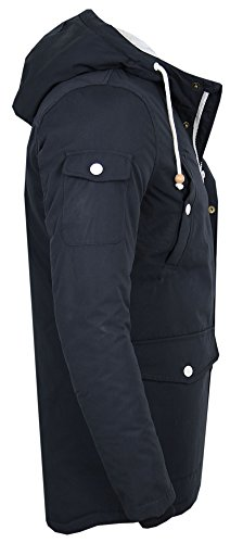 JACK & JONES Herren Short Parka Winterjacke Kapuze Regular Fit Schwarz (Black Navy Fit:REG)