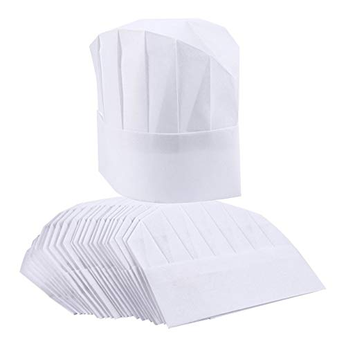 Chef Hats - 24er Pack Einweg-Chef Toques, Chef Supplies, verstellbare Professional Kitchen Chef Caps für Backen, kulinarische Hygiene, Kochsicherheit, 50,8-55,9 cm Umfang
