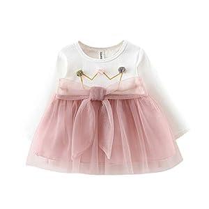 Vestido 6-18 Meses Tutú para Bebé Malla Vestidos para Niñas Princesa Falda de Tul de Fiesta con Bowknot Pompón Piel… 9