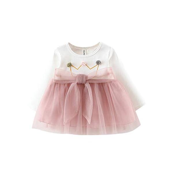 Vestido 6-18 Meses Tutú para Bebé Malla Vestidos para Niñas Princesa Falda de Tul de Fiesta con Bowknot Pompón Piel… 1