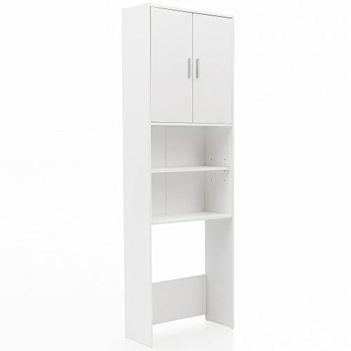 FineBuy Waschmaschinenschrank 190 x 64 cm Weiß | Waschmaschinen Überbau mit 2 Türen | Badregal 2 Ablagen |...