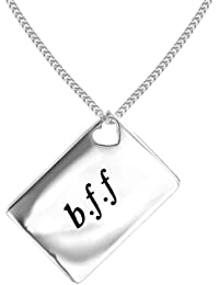 Lily & Lotty Love Letters Rhodium Plated 925 Sterling Silver Hand Set Diamond Necklace of Length 46 cm