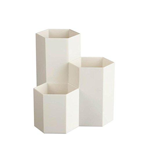 Longra Polyvalent Stylo en plastique Récipient Décoration créative de bureau de vase d'hexagone de récipient de stylo en métal Vase hexagone créatif Bureau Porte-stylo Pot de Fleur Vase (Blanc)