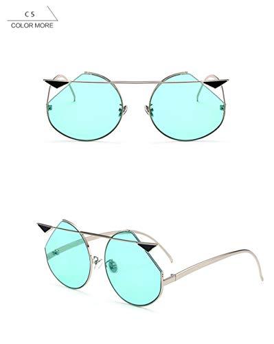 Wang-RX Mode runde sonnenbrille frauen dampfspiegel vintage männer metallrahmen klar sonnenbrille weiblich