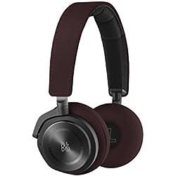 B&O Play by Bang & Olufsen H8 Casque Audio Supra-Auriculaires Haut de Gamme Sans Fil Bluetooth avec Système Actif d'Annulation du Bruit (ANC) - Rouge Foncé