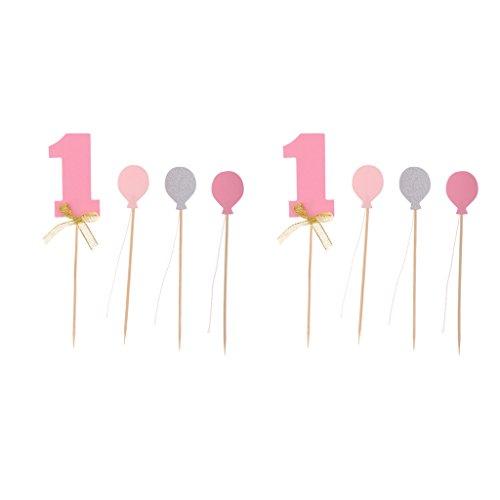 Sharplace 8 ersten Geburtstag Dekorationen Anzahl 1 und Ballons Cupcake Topper Boy Girl 1. Jahr Party Decor - Rosa, 14,5 x 3 cm (Baby Girl 1. Geburtstag Dekor)