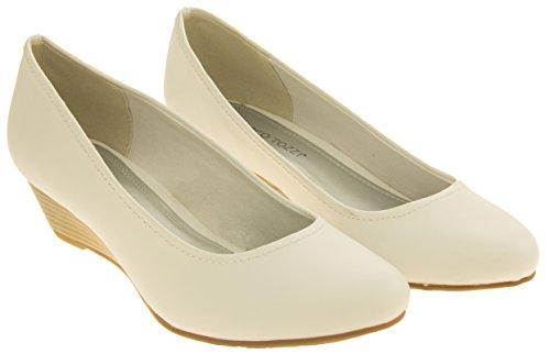 Donna Marco Tozzi Effetto legno a basso cuneo scarpe tacchi tribunale Bianco