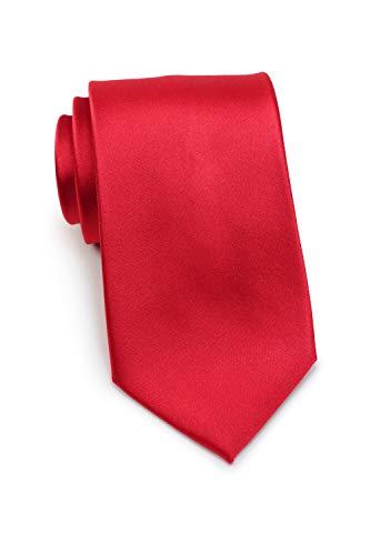 Parsley XXL Seidenkrawatte, einfarbige Krawatte, extra lang, verschiedene Farben, reine Seide, 8,5 cm breit, Handarbeit (Rot) Lange Krawatten