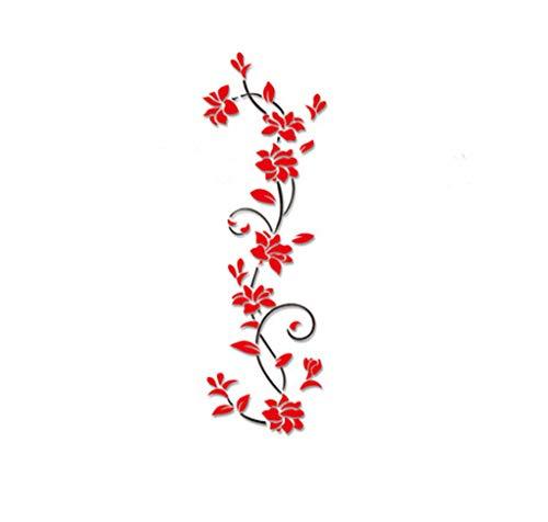UJUNAOR Wandtattoo mit Schmetterlingen   Wandbild: 24 * 80cm   Wandsticker Blumen Wandaufkleber Blume   Deko für Wohnzimmer Schlafzimmer Küche Flur(Rot,One size)