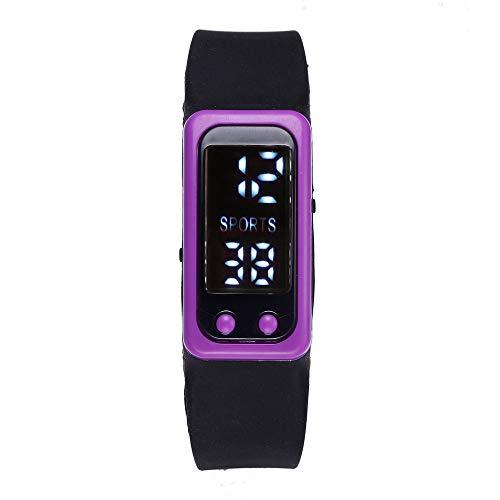 XZDCDJ Damen Uhr Armbanduhr Bracelet Jungen Uhr Run Step Watch Armband Schrittzähler Kalorienzähler Digital LCD Walking Distance Lila 111