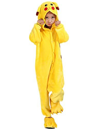 Herqw61 Kinder Pikachu Pyjama Anime Cosplay Kostüm Schlafanzüge Einhorn Einteilige Tieranzüge für Mädchen und Jungen(105(Höhe 105-120CM) Gelb)