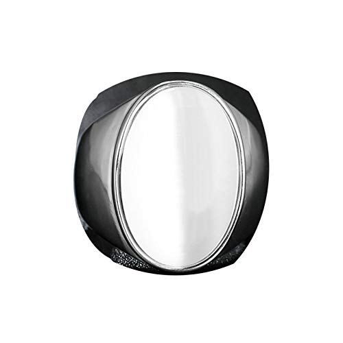 LOUMVE Edelstahlring Herren Oval Weiß Stein Eheringe Titan Breit Silber Größe 65 (20.7) Ovale Torte