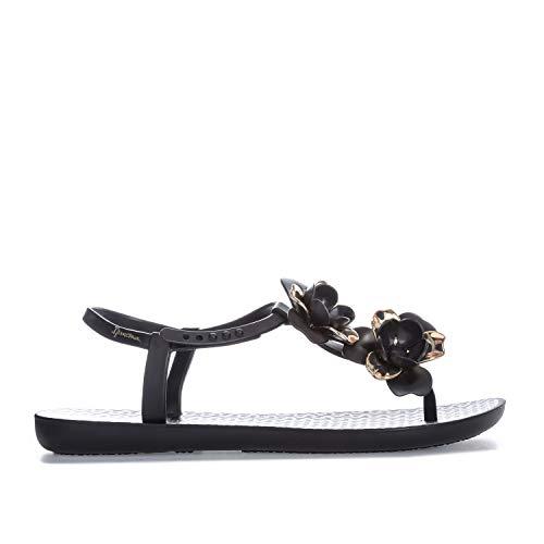 Ipanema Women's Floral Special Plastic Buckle Sandal Black-Black-4 Size 4