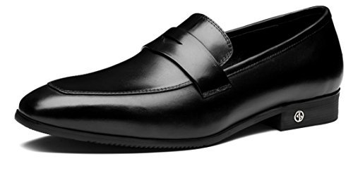 OPP Men Retro Leather Formal Loafers Flat Shoes Simple Pointed-Toe Dress Designer 43EU Black