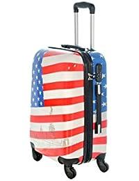 Maleta cabina 50 y 55 cm 4 ruedas trolley cascara dura adecuadas para vuelos de bajo coste art bandiera americana