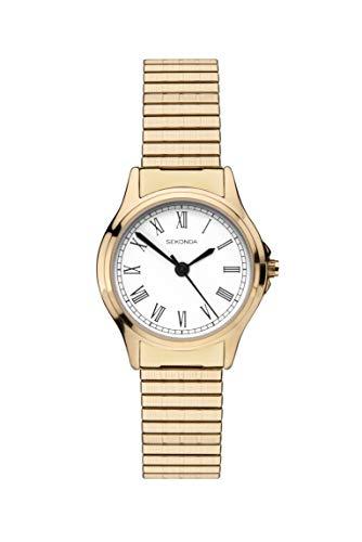 Sekonda 2702 Montre à Quartz analogique pour Femme avec Cadran Blanc et Bracelet Extensible doré
