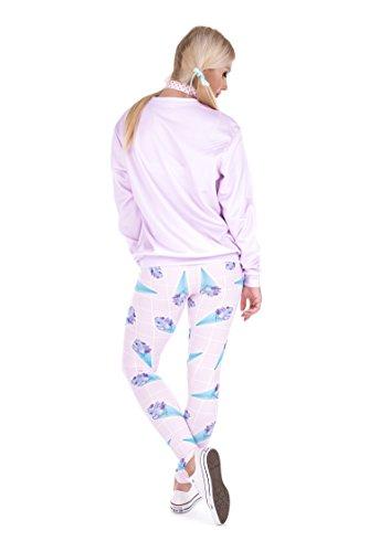 Damen Sport Leggings Hipster Jogahose Muster Sporthose Mädchen Lang Treninganzug Blogger Fullprint Onesize HOLO ICE CREAM PINK