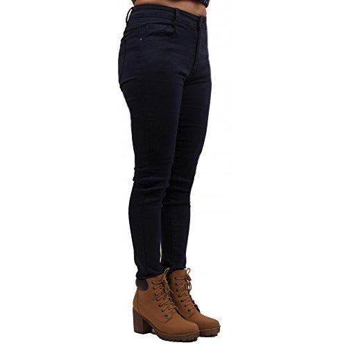 Jean femme bleu marine coupe skinny taille haute ultra stretch- Bleu Marine