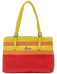 ESBEDA Red Striped Pu Synthetic Material Handbag For Women