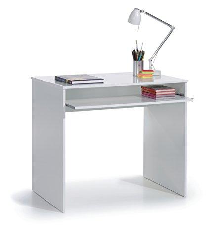 SERMAHOME- Mesa de Escritorio y Ordenador con Bandeja extraíble. Color Blanco Brillo. Medidas: 90 cm Ancho, 79 cm Alto, 54 cm Fondo.