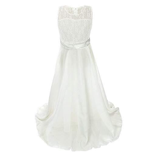 discoball Mädchen Chiffon Blumen Bodenlang Kleid Weiß, ca.12-14 Jahre
