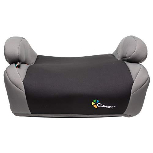 Clamaro 'Guardian Mini' Autositzerhöhung mit Isofix, Autositz der Gruppe 3 (22-36 kg) ECE R44/04, Sitzerhöhung bequem gepolstert mit Armlehnen, passend für Autos mit oder ohne Isofix - Schwarz/Grau