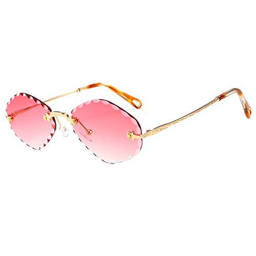 Yangjing-hl Diamant rahmenlose Persönlichkeit Sonnenbrille Diamant Trimmen kleine Box Damen Marine Film Sonnenbrille Goldrahmen roten Film -