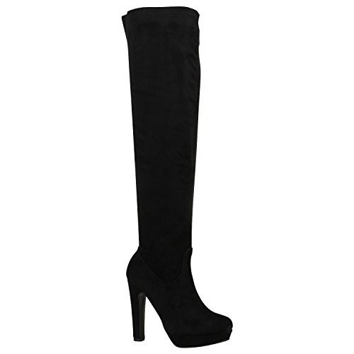 Damen Stiefel Overknees Blockabsatz Boots Plateau High Heels Velours Optik Schuhe Plateauschuhe Basic 129143 Schwarz Braun 39 | Flandell (Boot High Knee Winter)