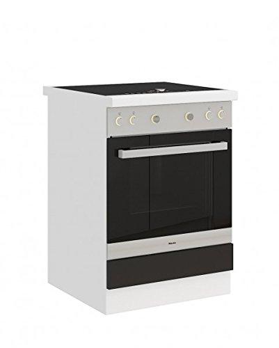 Küchen-Preisbombe Herdunterschrank passend für das Modell,Omega Weiss/Schwarz\'