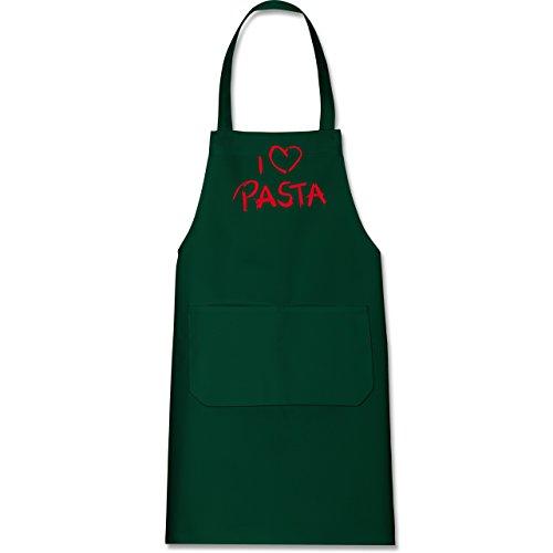 Shirtracer Küche - I Love Pasta - 80 cm x 73 cm (H x B) - Grün - X967 - Kochschürze mit Tasche - Garten Pasta