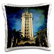 Sandy Mertens Hawaii Travel Designs - Aloha Tower at Night in Honolulu - 16x16 inch Pillow Case