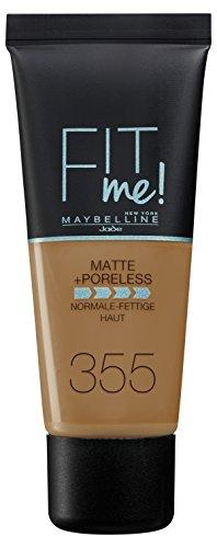 Maybelline Fit me Matte&Poreless - 355 Pecan - Foundation Tubo Líquido - base de maquillaje (Pecan, Piel café, Piel mixta, Piel normal, Piel grasosa, Tubo, Líquido, Mate)