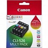 Canon CLI-526 4 Cartuchos Valuepack de tinta original Schwarz/Cian/Magenta/Amarillo (Incluye PP-201 50 sheets) für Pixma Inkjet Drucker MX715-MX885-MX895-MG5150-MG5250-MG5350-MG6150-MG6250-MG8150-MG8250-iP4850-iP4950-iX6550