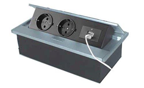 Thebo APS 11USB mesa enchufe aluminio de 2enchufes absenkbar ranuras Barra