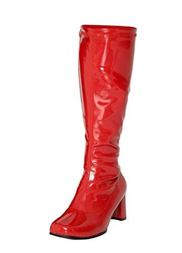 Gizelle Damen Karneval Go Go Stiefel 1960er & 70er Jahre Retro Größen 3-12, Rot - rotes Leder - Größe: 39.5