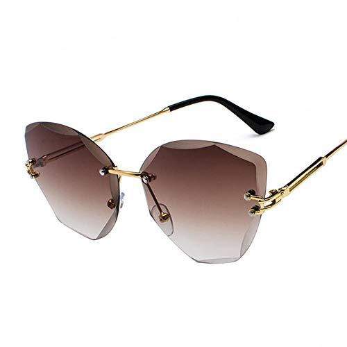 Leidenschaftlich türkei muselife Design Mode Dame Sonnenbrille randlose Frauen Sonnenbrille Vintage Legierung Rahmen Klassische Designer Shades Oculo, 5-Gold-Tee
