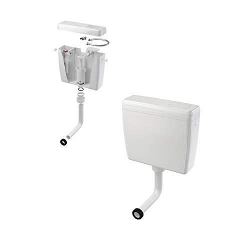 Bad WC Gäste-WC Spülkasten mit Stop | Spartaste Kunststoff inkl. Montagematerial in Weiß