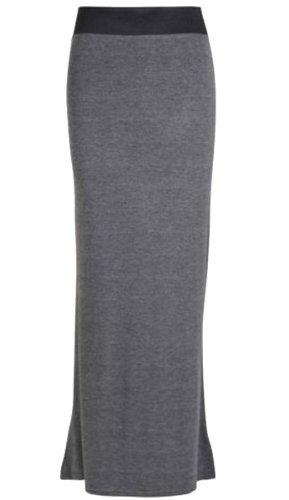 Frauen Plus Größe Lange Jersey Boho Maxiröcke 48-50 Charcoal (Plus Größe Rock)