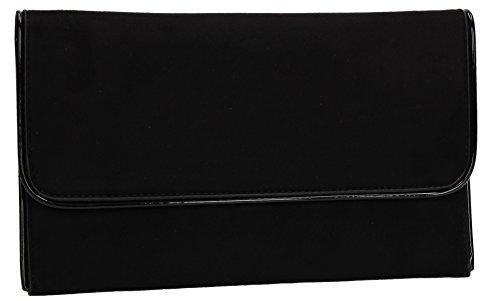 Swankyswans Damen Amanda Suedette Slim Clutch, 3x15.5x25.5 centimeters Schwarz (Black)