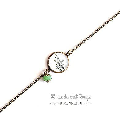 bracelet chaine fine bronze, cabochon petite plante verte, vert blanc, bronze