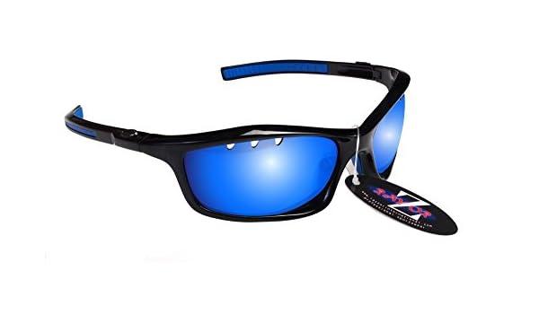 RayZor Lunettes Lunettes de soleil pour Sport Course à Pied, avec un objectif Miroir Bleu en iridium anti-reflets