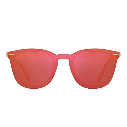 JIM HALO Randlos Sonnenbrillen Ein Stück Spiegel Reflektierend Brillen für Damen Herren(Matt Transparent/Spiegel Orange) (Augen Brille Rote Frau)