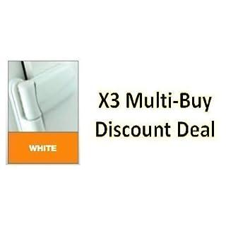 X3 (Multi-Buy Discount Deal) UPVC 3D Door Flag Hinge - White - AVOCET ET3D