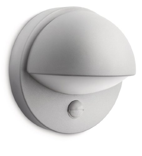 Philips myGarden June - Aplique para exterior, con sensor de movimiento, luz blanca cálida, bombilla incluida de 12 W, casquillo E27, color gris