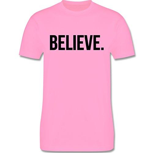 Statement Glaube Religion - Believe Glauben - Herren T-Shirt Rosa